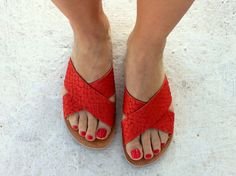 greek sandals/ criss cross leather/handmade snake effects coral red/flat or total flat/summer sandals/sandalia by aeliasandals on Etsy