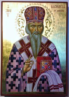 Saint Nikolai Velimirovich, Bishop of Ochrid and Zhicha icon hand-painted by Georgi Chimev Paint Icon, Saint Nicholas, Orthodox Icons, Christianity, Saints, Religion, Blessed, Hand Painted, Statue