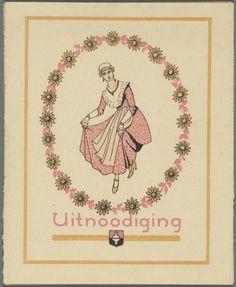 Koog aan de Zaan. Uitnodiging voor de jaarbeurs van 1920 met dame in Zaanse klederdracht op de voorzijde. 1920. Zaans Archief #NoordHolland #Zaanstreek