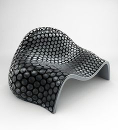 Perforated Chairs in black made of leather and fiberglass | chair . Stuhl . chaise | Design: Onur Ozkaya |
