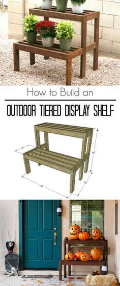 Learn how to build an outdoor tiered display shelf, with FREE building plans. Perfect to display holiday decor or to use year-round. wood projects projects diy projects for beginners projects ideas projects plans Learn Woodworking, Easy Woodworking Projects, Woodworking Furniture, Woodworking Plans, Woodworking Joints, Popular Woodworking, Youtube Woodworking, Woodworking Store, Easy Wood Projects
