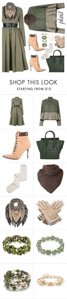 """Plaid in the military"" by ellenfischerbeauty ❤ liked on Polyvore featuring Moschino, Harvey Faircloth, Manolo Blahnik, CÉLINE, Intimately Free People, Lala Berlin, Hermès, Maggy London, New Directions and Versace"