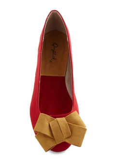 Wrapped Up In Charm Flat - Red, Solid, Bows, Faux Leather, Yellow