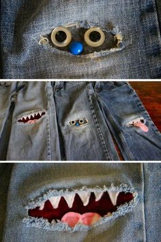 Patching Knees with Monster Patches (Diy Bag For Teens)Patching Knees with Monster Patches Could be fun for little ones and extend the life of their blue jeans!sewing clothes patterns Patching Knees with Monster Patches - You'll love these so much you'll Diy Clothing, Sewing Clothes, Fabric Crafts, Sewing Crafts, Diy Kleidung Upcycling, Patched Jeans, Denim Jeans, Ragged Jeans, Blue Jeans