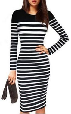 Black and White Striped Long Sleeve Bodycon Midi Dress