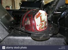Download this stock image: Fire Department helmet Ladder 22, Detroit Fire Department, Detroit Michigan USA - BDAGR7 from Alamy's library of millions of high resolution stock photos, illustrations and vectors.