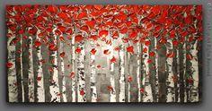 ORIGINAL noir blanc rouge bouleau paysage par ModernHouseArt