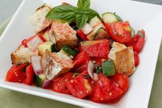 Panzanella - a Tuscan bread salad that is perfect as a summer dish for lunch or as a side.