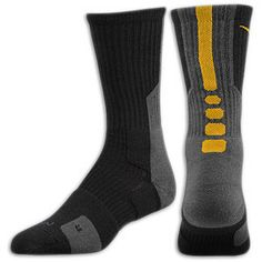 Nike Elite 2.0 Basketball Crew Sock - Men's - Black/Dark Steel Grey/University Gold