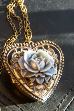 Rose necklace on music box pendant 130 songs available necklace handmade rose antiqued brass frame brass music box locket photo can be added aloadofball Gallery