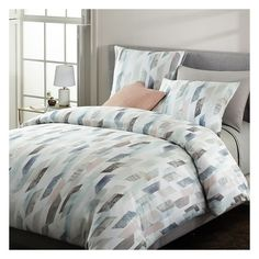 West Elm Organic Sateen Crystal Geo Duvet, Twin, Dusty Blue ($109) ❤ liked on Polyvore featuring home, bed & bath, bedding, duvet covers, twin duvet, west elm, west elm bedding, organic twin bedding and twin bedding