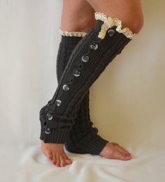 Leg warmers- dark grey cable knit slouchy open button down lace leg warmers knit lace leg warmers boot socks birthday day gifts