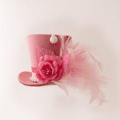 Burlesque, Gothic, Steampunk, Victorian, Showgirl, Mad Hatter, Pink Mini Top Hat, Alice in Wonderland, Iridescent Taffeta