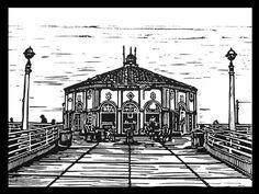 The Manhattan Beach Pier, Roundhouse...Lino cut.