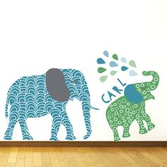 Elephant Wall Decals Jungle Elephant Fabric Wall by ecowalldecals
