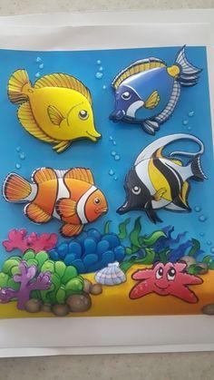 Ayşın's papertole_Sümbül Eldek Art Drawings For Kids, Colorful Drawings, Drawing For Kids, Art For Kids, Polymer Clay Projects, Polymer Clay Fish, Diy Arts And Crafts, Paper Crafts, Paper Mache Animals