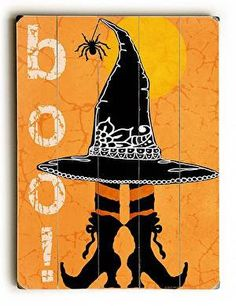 This Boo! Halloween wood sign by Artist Jill Meyer is a fun and colorful addition to your Halloween decor.
