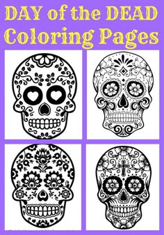 Beautiful Day of the Dead Sugar Skull Coloring pages - for kids and adults! Great cultural lesson - add jewels & felt to craft! Skull Coloring Pages, Colouring Pages, Coloring Pages For Kids, Coloring Sheets, Coloring Books, Kids Coloring, Adult Coloring, Day Of The Dead Party, Day Of The Dead Skull