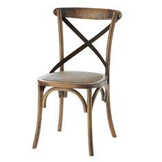 Stuhl aus Rattan und massiver Eiche antik Tradition