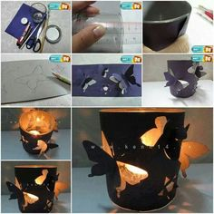 porta candele e farfalle - DIY Butterfly Candle Holder Easy Arts And Crafts, Fun Crafts, Diy And Crafts, Crafts For Kids, Paper Crafts, Diy Projects To Try, Craft Projects, Project Ideas, Craft Ideas