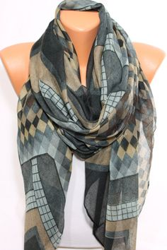 Geometric Scarf Check Scarf  Gray Beige Brown Coal by #escherpe #scarves #scarf #shawl #geometric #womens #fashion #accessories #beige #gray #grey #coal #brown