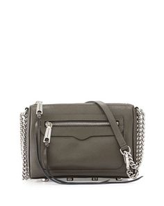 Avery Saffiano Crossbody Bag, Charcoal by Rebecca Minkoff at Neiman Marcus.