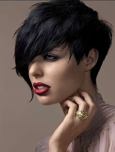 love the asymetrical cut and the color, but I don't think I'd ever go QUITE this dark.
