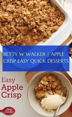betty w walker apple crunchy easy fast desserts Quick Apple Crisp, Quick Easy Desserts, Edible Art, Betty Crocker, Oatmeal, Breakfast, Health, Food, Apple