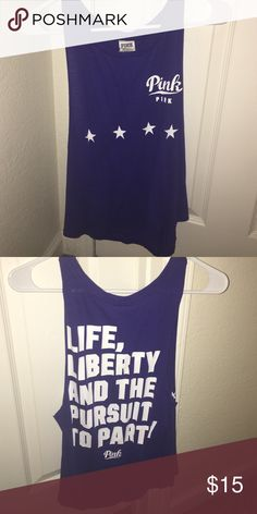 Navy blue tank Perfect for Fourth of July!! PINK Victoria's Secret Tops Muscle Tees