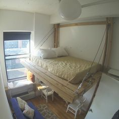 Hanging bed / loft bed / suspended bed / floating bed / urban tree fort / Brooklyn