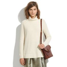 metallic skirt with loose white turtleneck (madewell 2013 fall/winter)
