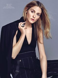Olivia Palermo (in Calvin Klein Collection pantsuit and top) for ELLE Denmark, September 2016. Photographed by Rachell Smith and styled by Anna Katsanis.