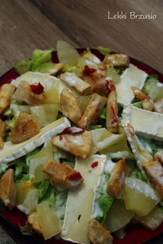 Sałatka z kurczakiem, ananasem i camembertem Salad Dressing Recipes, Salad Recipes, Snack Recipes, Cooking Recipes, Healthy Recipes, Breakfast Snacks, Pasta, My Favorite Food, Mozzarella