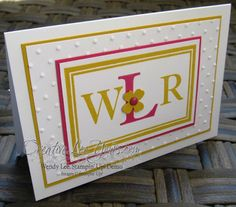 Sophisticated Serifs monogram card by Wendy lee, #creativeleeyours, Stampin' Up!