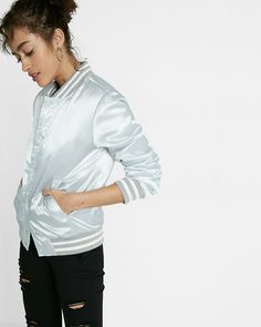 shiny silver filled bomber jacket