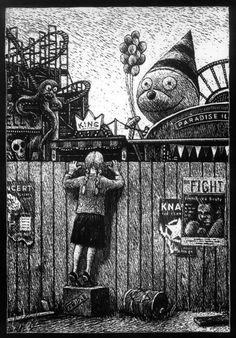 Thomas Ott, Cinema Panopticum, unknown medium, size and date Arte Horror, Horror Art, Dark Fantasy Art, Art Scratchboard, Art Inspo, Art Sinistre, Memes Arte, Bd Comics, Art Et Illustration