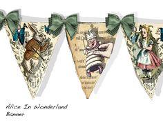 Alice in Wonderland Banner by Raidersofthelostart on Etsy
