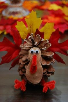 Pine cone turkey craft - Easy Thanksgiving crafts for kids - These fun crafts will keep your little ones occupied during the feast or before the holiday to prepare. Thanksgiving Crafts For Kids, Autumn Crafts, Thanksgiving Decorations, Holiday Crafts, Fun Crafts, Thanksgiving Cookies, Thanksgiving Turkey, Pine Cone Crafts For Kids, Pinecone Crafts Kids