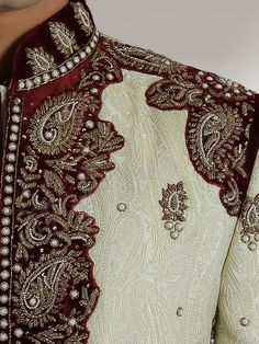 Amer Groom Designer Sherwani - Sherwani - Men's Sherwani For Men Wedding, Wedding Men, Wedding Suits, Mens Leather Coats, Indian Groom Wear, Traditional Fashion, Party Wear Dresses, Hand Embroidery Designs, White Beads