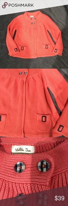 Matilda Jane Flutterby Wing Secret Field Sweater Excellent condition- worn once! Matilda Jane Flutterby Wing Secret Field coral cardigan sweater. Tween size 12 Matilda Jane Shirts & Tops Sweaters