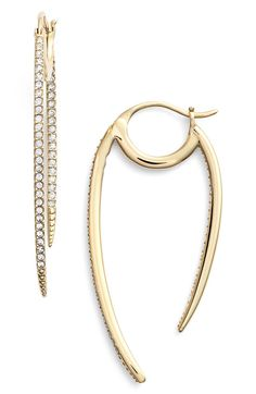 Main Image - Nadri 'Crescent' Linear Hoop Earrings