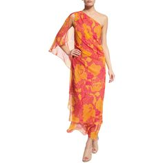 Diane von Furstenberg Nori Flower Power Silk Maxi Dress ($240) ❤ liked on Polyvore featuring dresses, flower power fusc, maxi cocktail dresses, red silk dress, red dress, one shoulder dress and one shoulder maxi dress