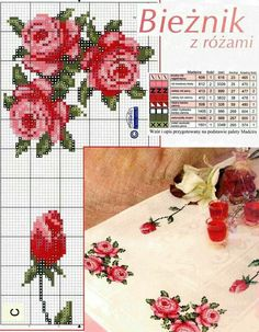 cross stitch love this table runner Cross Stitch Love, Cross Stitch Needles, Cross Stitch Borders, Cross Stitch Flowers, Cross Stitch Charts, Cross Stitch Designs, Cross Stitching, Cross Stitch Patterns, Ribbon Embroidery