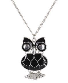 owls! silver necklaces, gorgeous owl, enamel owl