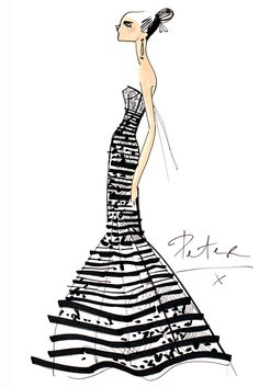 """Discovering Oscar…the beginning of a journey."" — Peter Copping for Oscar de la Renta sketch"