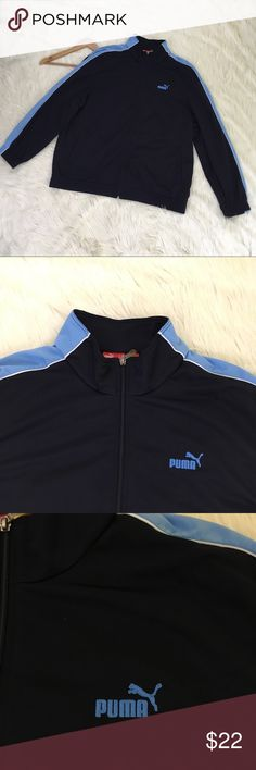 """Puma Men's XXL Navy Blue Full Zip Athletic Jacket Puma athletic workout jacket men's XXL. Zips up the front. Color is navy blue with light blue stripe on sleeves. 100% polyester. Excellent condition. No flaws. See photos for details.  Length: 30"""" Armpit to Armpit: 26.5""""   📌NO lowball offers 📌NO modeling 📌NO trades  Please check out the rest of my closet, I have various brands and ALL different sizes. Some new with tags, others in excellent condition😊 Puma Jackets & Coats Lightweight…"""