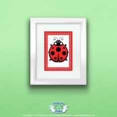 Red Ladybug Print, Wall Art Decor for Nursery or Kids Room, 5x7. $8.00, via Etsy.