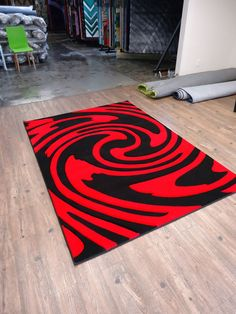 Twister Red Black Hand Carved Area Rug X Olefin Abstract