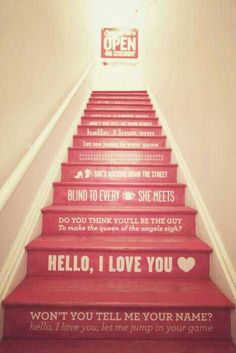 Pink + Music Lyrics + On Stairs = Awesomeness!