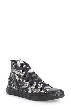 Converse Chuck Taylor® All Star® Print High Top Sneaker canvas  parchment/black sz7